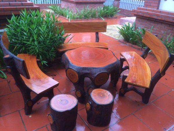 bàn ghế xi măng giả gỗ hà nội