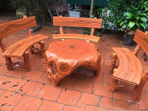 bàn ghế giả gỗ 1