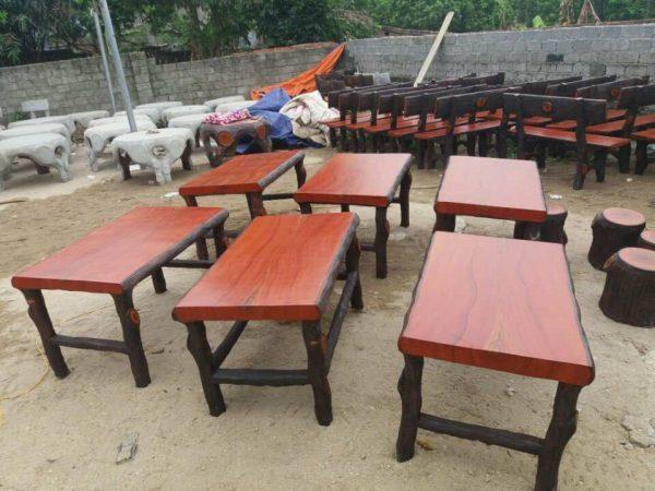 bộ bàn ghế đá giả gỗ