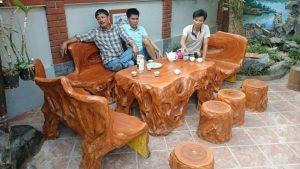 bàn ghế đá giả gỗ hà nội