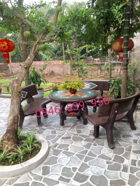 bàn ghế đá màu cafe