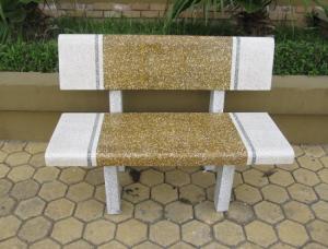 ghế đá công viên màu vàng trắng