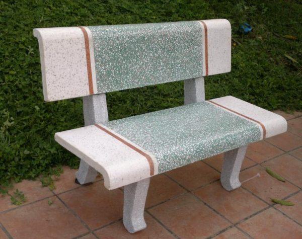 ghế đá công viên màu xanh trắng