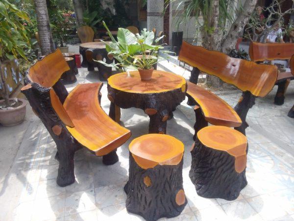 mua bàn ghế đá giả gỗ ở đâu