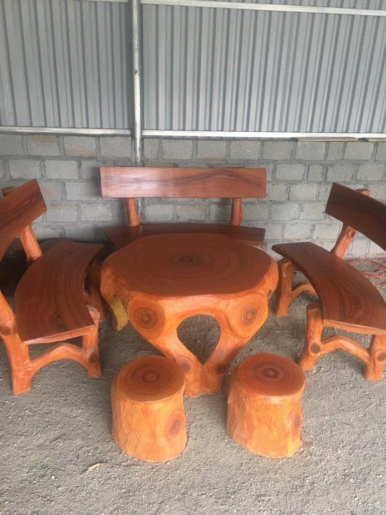bàn ghế giả gỗ nd12