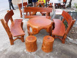 bàn ghế giả gỗ đen t9
