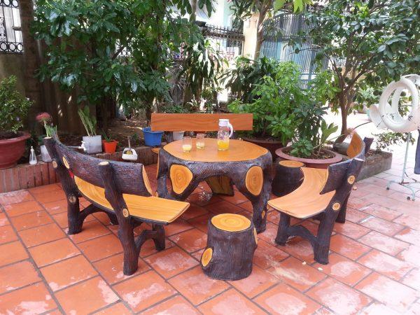 bộ bàn ghế đá giả gỗ k2