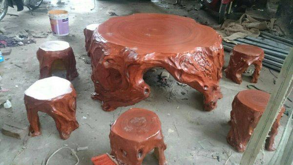 Bàn ghế giả gỗ lũa MLG9