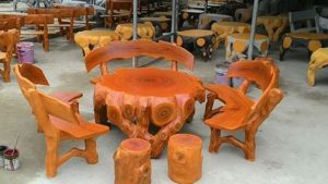 bàn ghế xi măng giả gỗ màu lũa