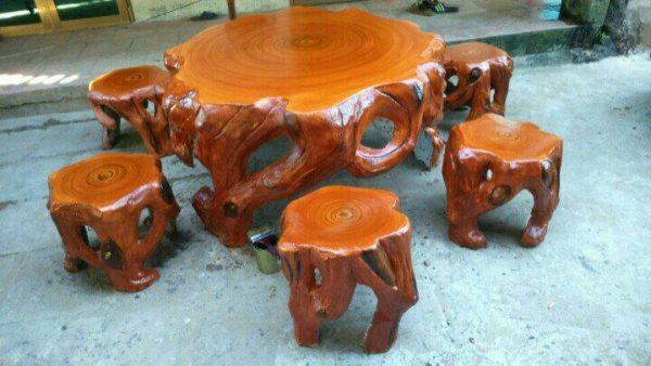 bộ bàn ghế xi măng giả gỗ sang miền bắc