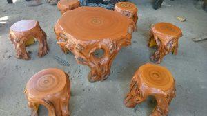 Bàn ghế giả gỗ lũa MLG92