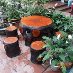 bàn ghế giả gỗ đen