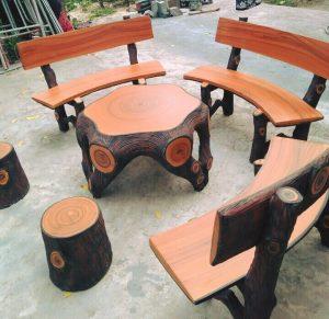 bàn ghế giả gỗ 210