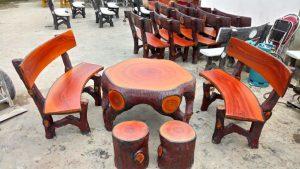 bộ bàn ghế xi măng giả gỗ MLX60