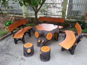 bàn ghế xi măng giả gỗ mlx