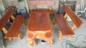 bàn ghế đá giả gỗ lũa mlg