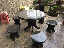 bàn ghế đá tròn không tựa mls