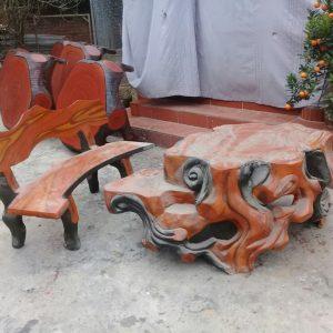 bàn ghế xi măng giả gỗ lũa 123