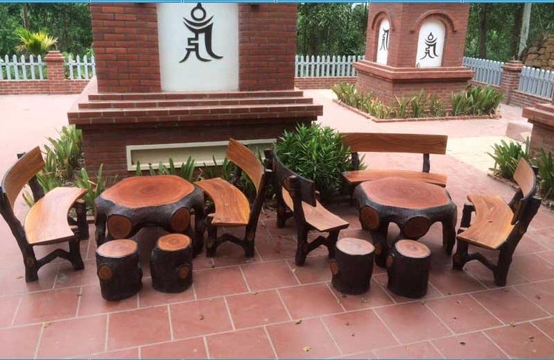 Bộ bàn ghế xi măng giả gỗ MLX685
