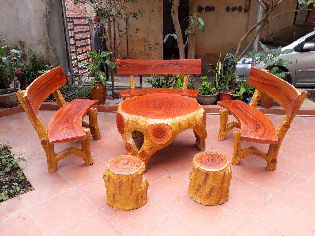 bàn ghế đá giả gỗ k12