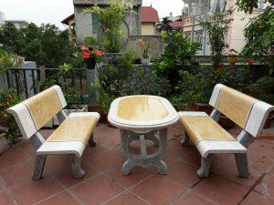 bàn ghế đá granito 215