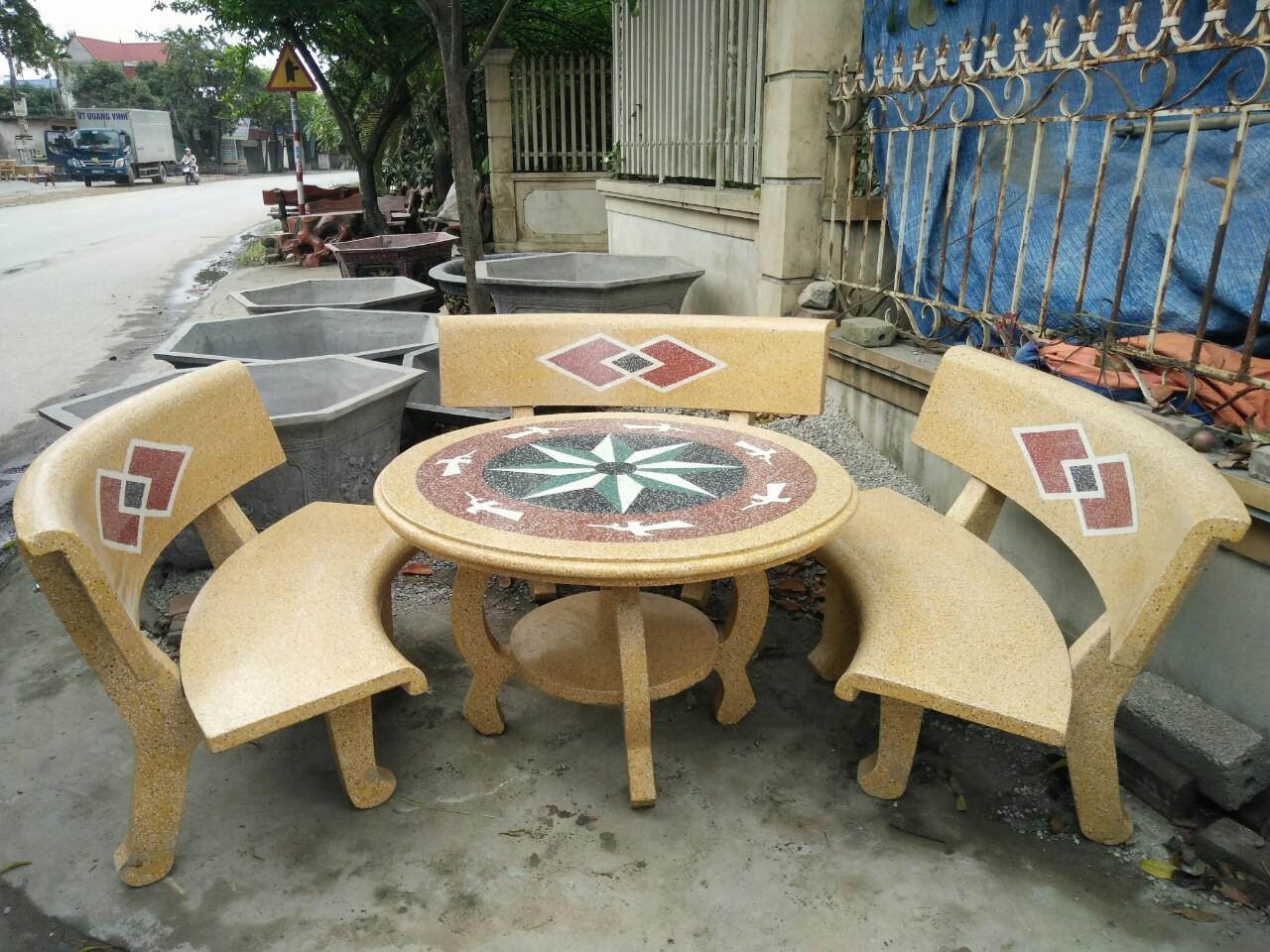 bàn ghế đá granito f45