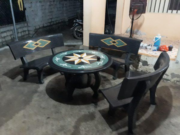bàn ghế đá granito f48