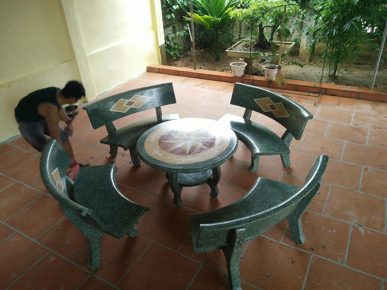 bàn ghế đá granito f47