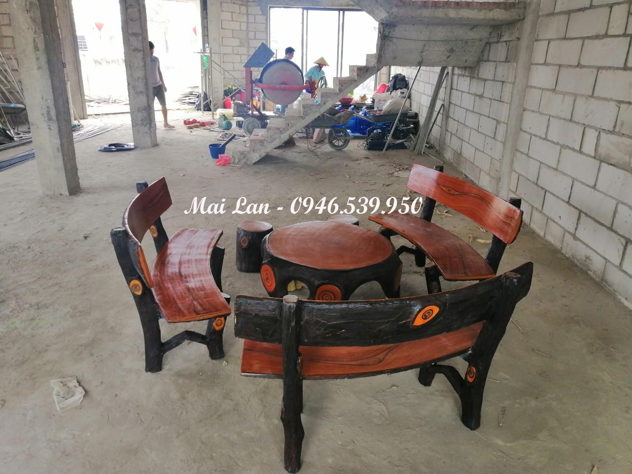 bộ bàn ghế bê tông giả gỗ