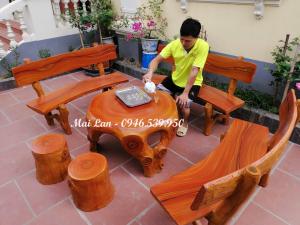 bàn ghế xi măng giả gỗ Mai Lan