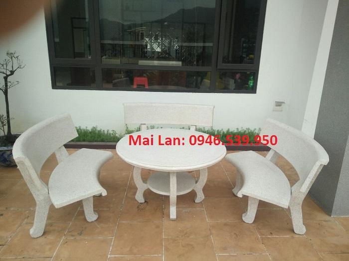 bàn ghế đá trắng