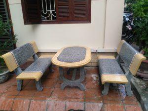 Bàn ghế đá công viên KF69