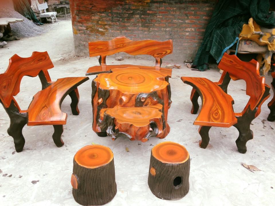 bàn ghế giả gỗ mai rùa