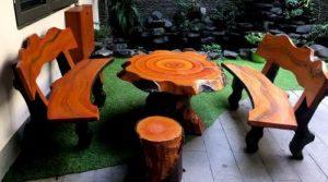 bàn ghế giả gỗ hình nấm